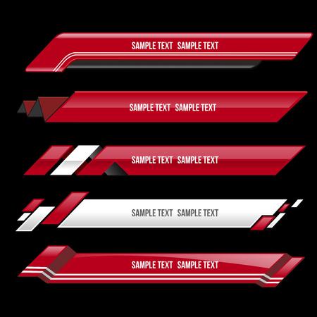 rosso terzo inferiore striscione schermo bar trasmissione - illustrazione vettoriale Vettoriali