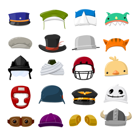 Funny Cartoon Hat set - vector illustration  イラスト・ベクター素材