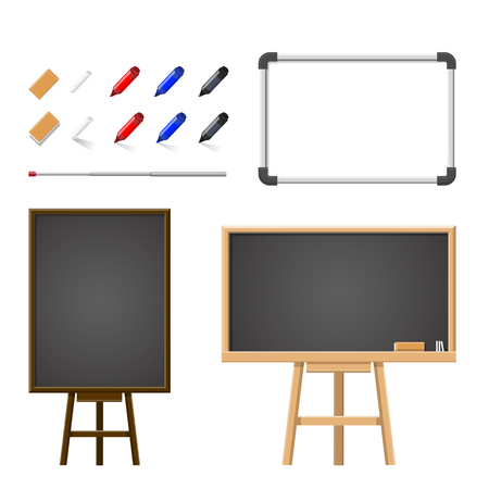 Set of Blank White Boards and black board - vector illustration