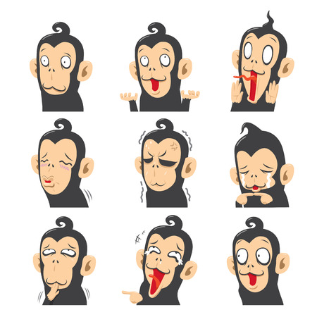 manga style: Vector set of monkeys with different emotions - vector illustration