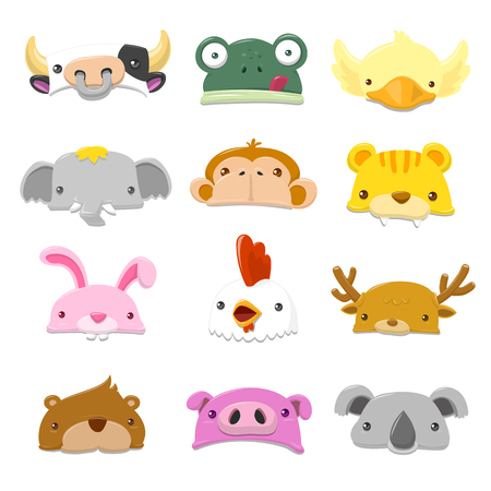 cute animal: Funny Cartoon Animals Hat set - vector illustration Illustration