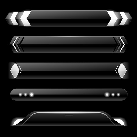 Black lower third banner bar screen broadcast - vector illustration Vettoriali