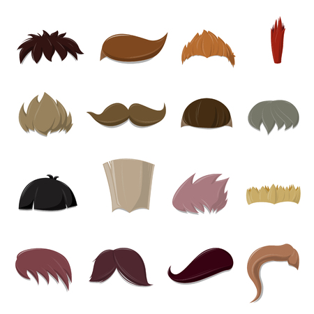 wigs: Set of cartoon vector Hair set over white background - vector illustration Illustration