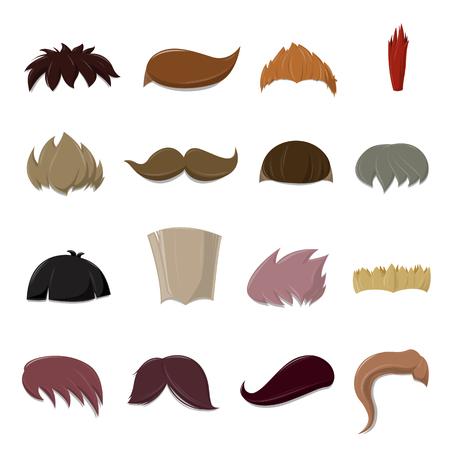 Set of cartoon vector Hair set over white background - vector illustration Ilustração