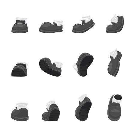 Cartoon running shoes in a walking motion-vector illustration