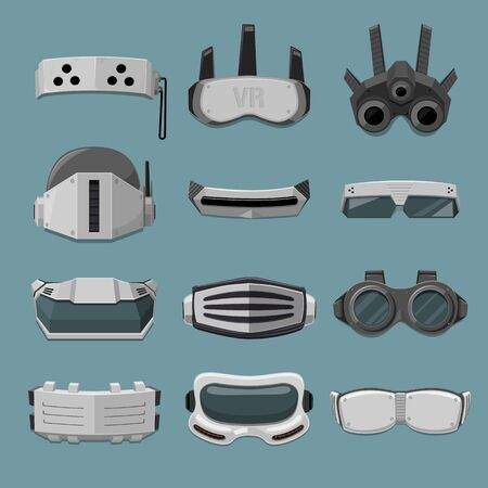 high tech: Robotic High Tech goggles Collection - vector illustration