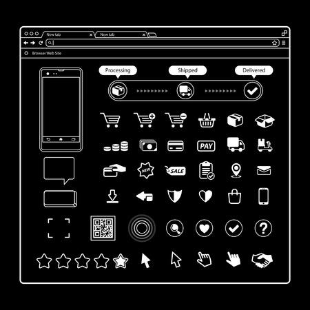 Set of Vector E-Commerce Icons Shopping and Online Ilustração
