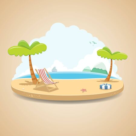 Island Background Vector Nature Landscape Illustration  イラスト・ベクター素材