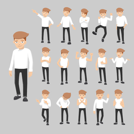 Cartoon Guy In Various Poses - vector illustration