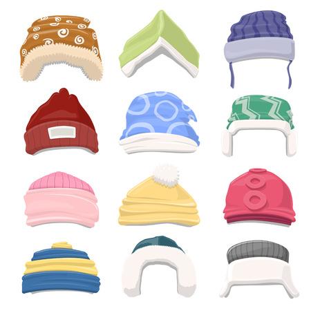 winter hat: Funny Cartoon Winter Hat set - vector illustration