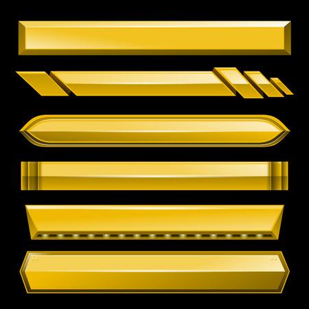 Golden lower third banner bar screen broadcast - vector illustration