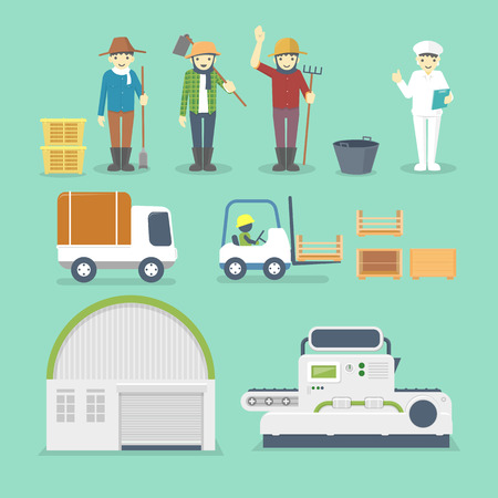 Set of Cartoon Workers and Factory Machines - vector illustration