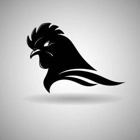 Black Chicken Head Vector Design dark outline - vector illustration  イラスト・ベクター素材