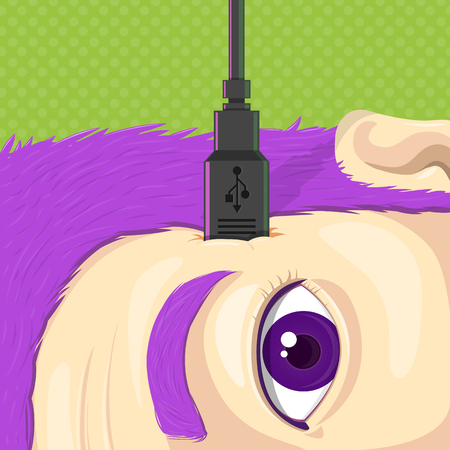 man with the cable stick on the head- vector illustration Ilustração