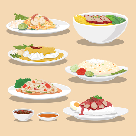 Thailand Culture Foods Collection - Vector illustration Illustration