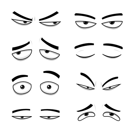 Set of cartoon vector eyes over white background - vector illustration