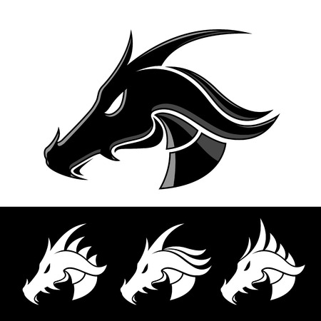 Black Dragon Head Vector Design dark outline - vector illustration