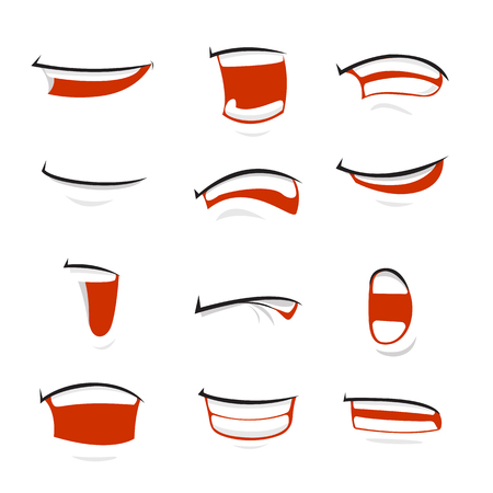 Set of cartoon vector mouth over white background - vector illustration Illusztráció