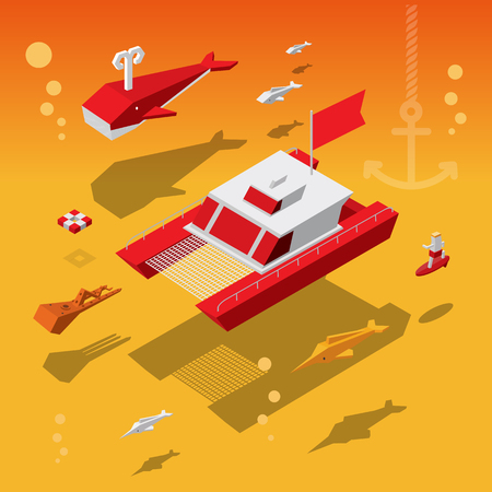 boat at the ocean with fish under water - Vector illustration
