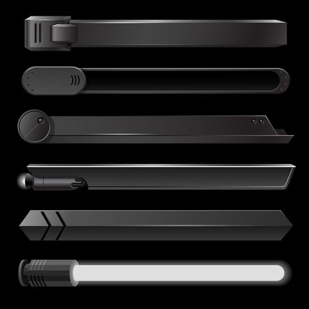 Black lower third banner bar screen broadcast - vector illustration Vectores