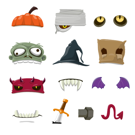 children party: halloween objects cartoon collection - vector illustration
