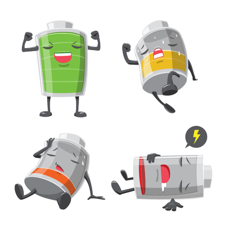 Battery man action cartoon collection - vector illustration Illustration