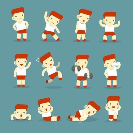 Gym Fitness Exercise Training Workout - Vector illustration