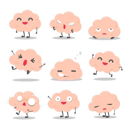 Cute Brain Character Set vector illustration Ilustração