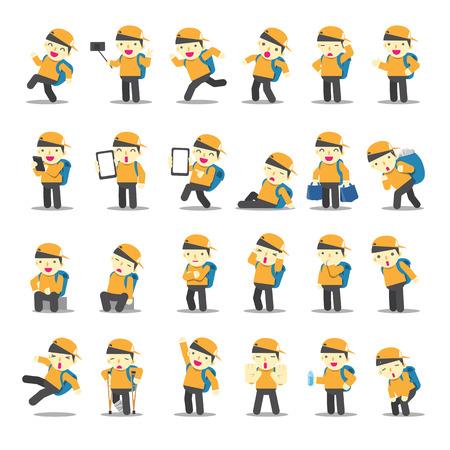 Cartoon character design Male Tourist collection vector illustration Ilustração