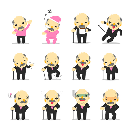 Business man in suit in various poses collection vector illustration