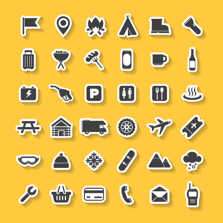 Travel Icons Set Vector camping collection