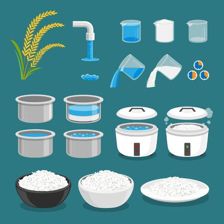 Rice Cooking Directions Steps How Prepare vector illustration