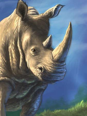 Sunny rhinoceros digital drawing