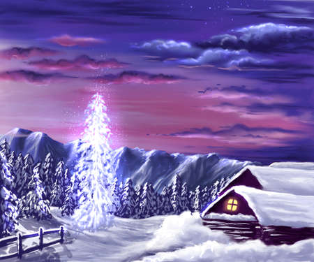 Christmas tree in the country Banco de Imagens