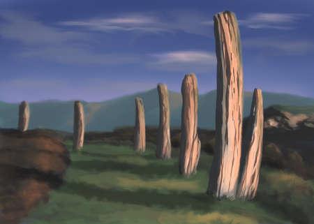 The stone pillars digital illustration