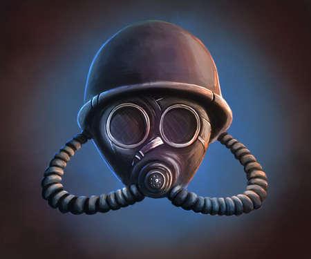 The gas mask digital illustration