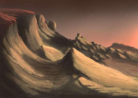 The evening mountains digital illustration Banque d'images