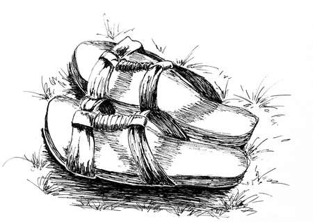 Pretty slippers ink drawing Banque d'images