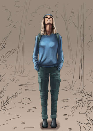 The young girl digital illustration
