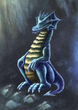 Magic dragon digital illustration Banque d'images