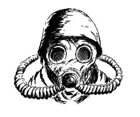 The gas mask ink drawing