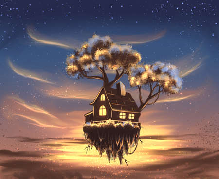 Flying house in the sky Banque d'images - 144169155