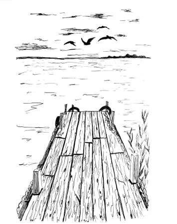 Dock on the water ink drawing Banque d'images