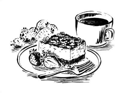 Sweet dessert ink drawing Banque d'images