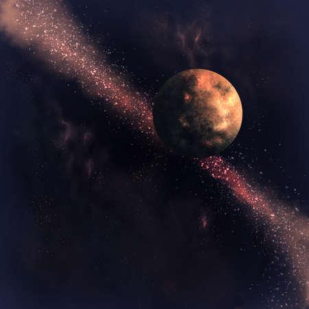 Planet in space digital illustration Banque d'images