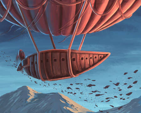 Flight of the airship digital illustration