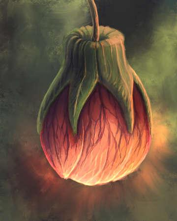 Glowing heart fruit digital illustration