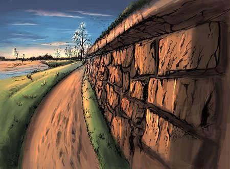 The sunny landscape digital illustration