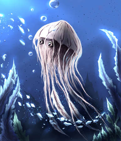 Fantasy jellyfish digital illustration