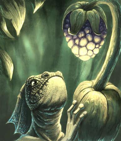 Lizard and the magic fruit